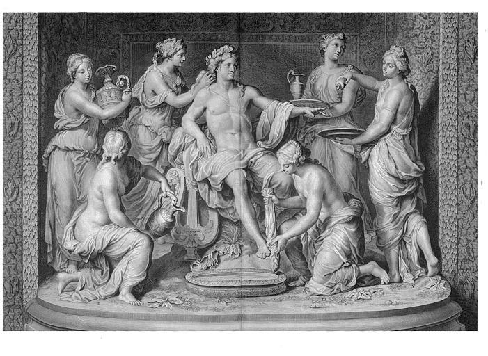 Gravure : Groupe sculpté de la grotte de Thétys, Apollon servi par les Nymphes