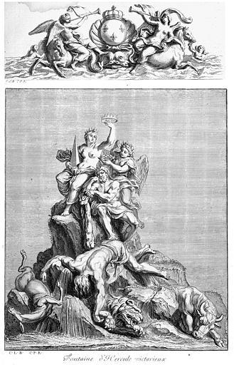 Gravure : Projet pour une fontaine d'Hercule victorieux