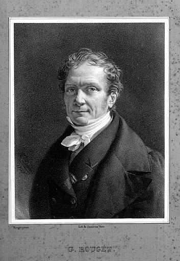 Lithographie : Portrait du peintre Georges Rouget (1783-1869), d'après l'autoportrait ayant figuré au salon de 1837