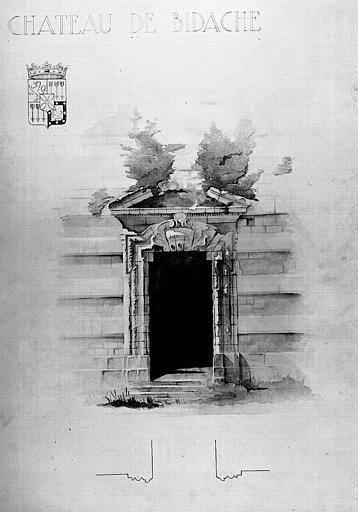 Dessin aquarellé en camaïeu gris : Porte de la chapelle