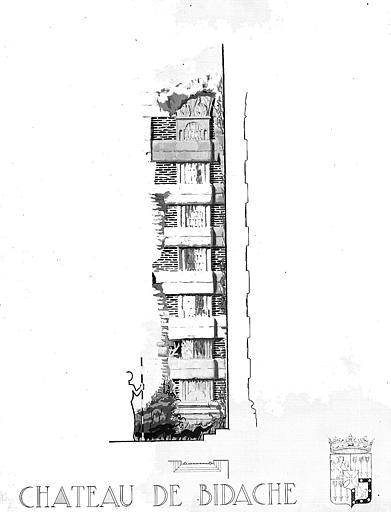 Dessin à la gouache  : Eléments de colonnade