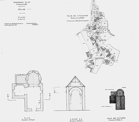 Plan de situation, plan de l'église, coupe transversale et plan des toitures