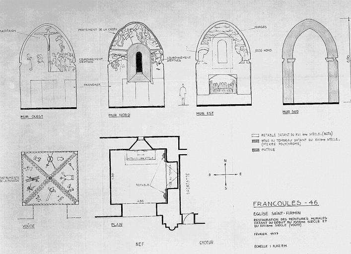 Restauration des peintures murales de la voûte datant du début du 16e et du 18e :élévation des murs, plan de la voûte et plan de la chapelle