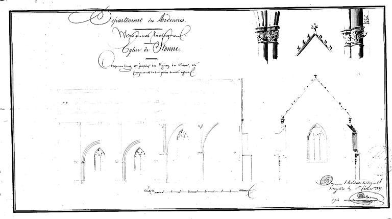 Coupe longitudinale, façade du pignon du choeur et fragments de sculptures