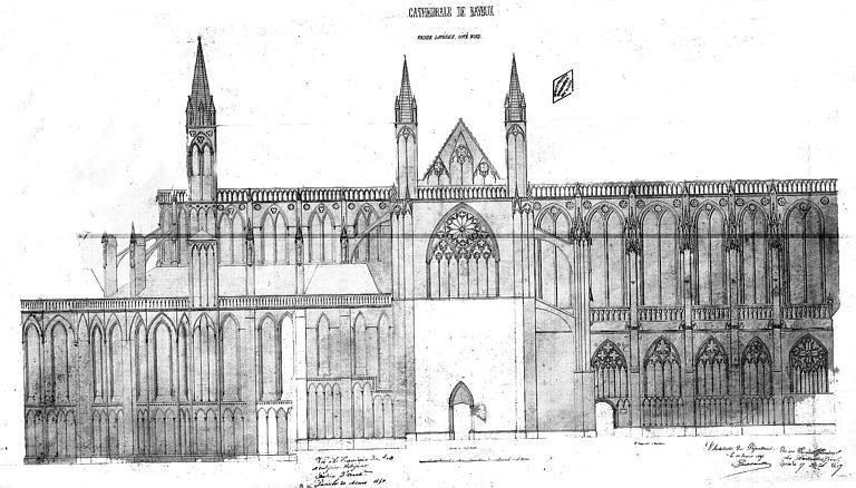 Elévation de la façade latérale nord