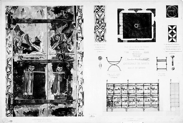 Plan de la salle du trésor, détails du carrelage, armoire et siège