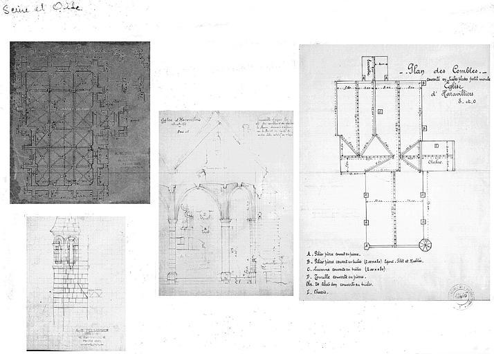 Plan et coupe transversale de l'église, plan des combles
