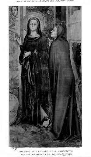 Relevé de peinture murale de la chapelle d'Innocent VI (panneau 2 du mur 1 B) : Naissance de saint Jean-Baptiste