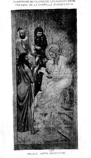 Relevé de peinture murale de la chapelle d'Innocent VI (mur 1 A) : Joachim inscrivant le nom de saint Jean-Baptiste