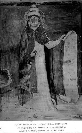 Relevé de peinture murale de la chapelle d'Innocent VI (panneau 1du mur 1 A) :évêque