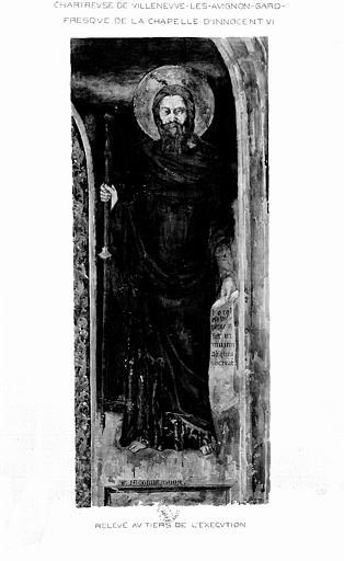 Relevé de peinture murale de la chapelle d'Innocent VI (mur 4 ou 2) : Saint Jacques le Majeur