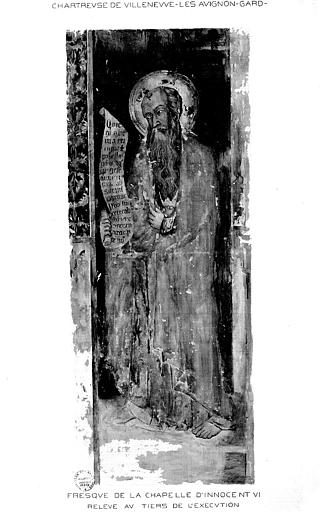 Relevé de peinture murale de la chapelle d'Innocent VI (mur 4) : Un apôtre