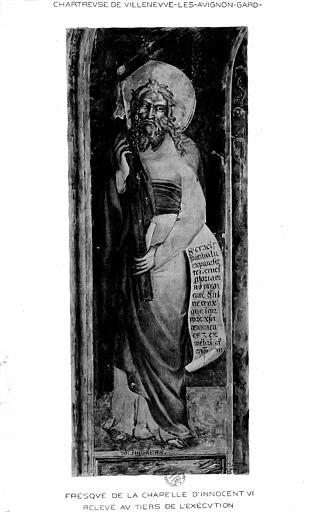 Relevé de peinture murale de la chapelle d'Innocent VI (mur 4) : Saint André