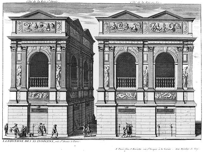 Gravure : Vue du côté de la rue Saint-Denis et vue du côté de la rue au Fer