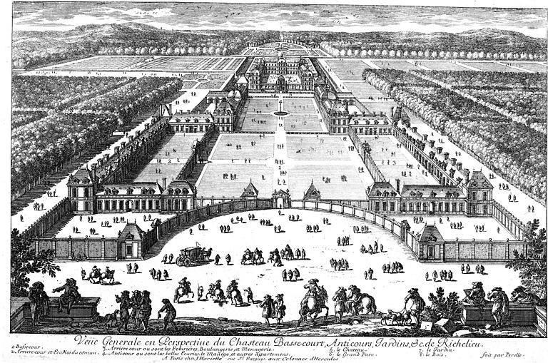 Gravure : Vue générale du palais et des jardins
