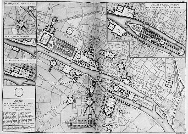 Plan de Paris indiquant les projets d'emplacements choisis pour la statue équestre de Louis XV et divers embellissements