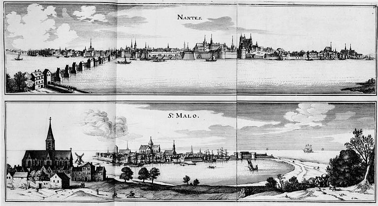 Gravure : Deux vues générales des villes de Nantes et Saint-Malo