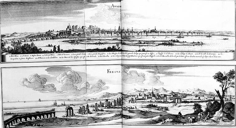 Gravure : Deux vues générales des villes de d'Avignon et Fréjus