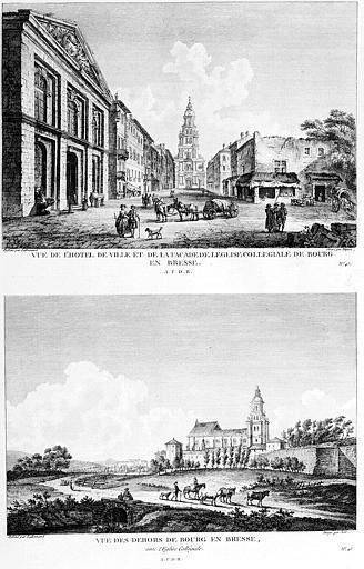 Gravure : Vue de l'hôtel de ville et de l'église collégiale, et Vue de l'extérieur de la ville avec l'église collégiale
