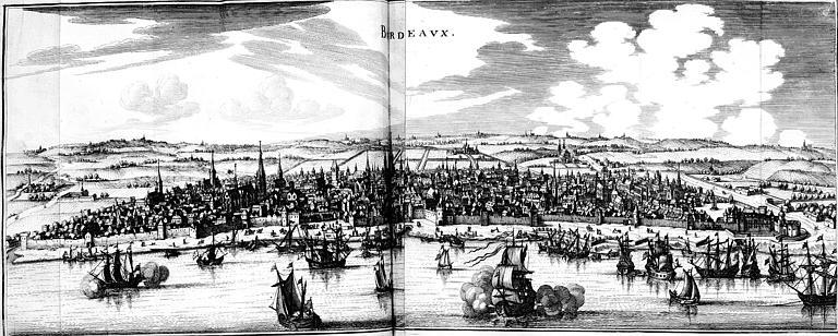 Gravure : Vue générale de la ville de Bordeaux