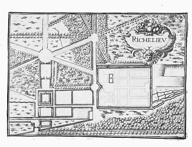 Gravure : Plan de la ville et du château