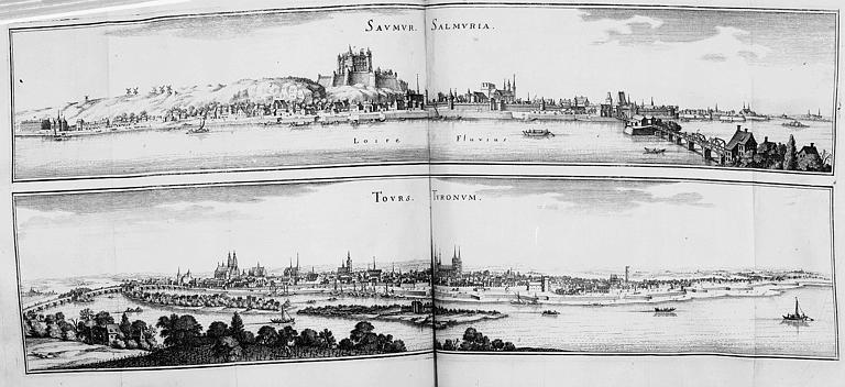 Gravure : Deux vues générales des villes de Saumur et Tours