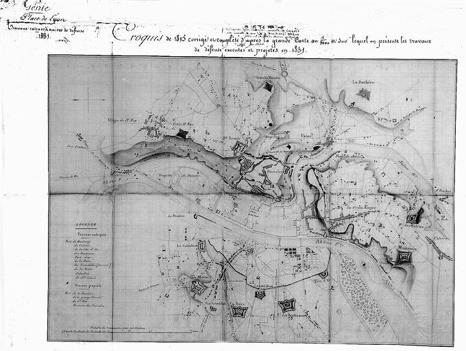 Croquis des travaux extraordinaires de défense de 1815, corrigé et complété