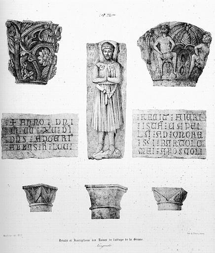 Lithographie : Détails des sculptures et inscriptions
