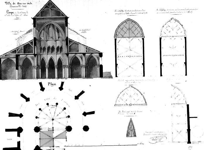 Coupe transversale, plan de l'abside et installation des échafaudages
