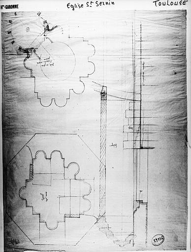 Plan d'un pilier en pierre de Carcassonne supportant le clocher