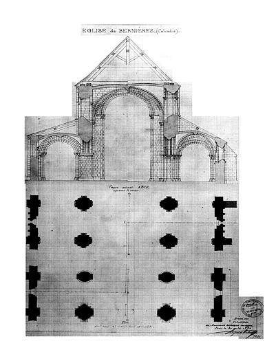Plan et coupe d'une travée (dessin aquarellé)