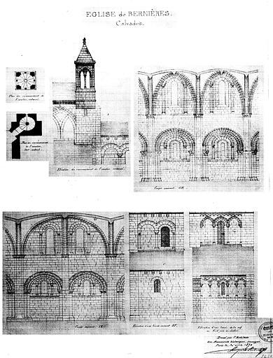 Plan et élévation du couronnement de l'escalier, et élévations et coupes de travées de la nef (plume et lavis)