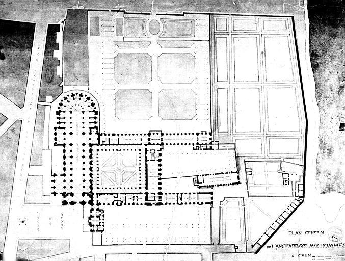 Plan général de l'abbaye (plume et aquarelle)