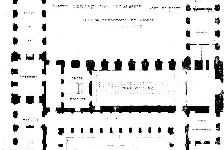 Plan  au sol du réfectoire et des abords (plume et lavis)