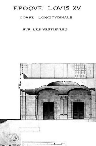 Coupe longitudinale sur les vestibules d'époque Louis XV (aquarelle)