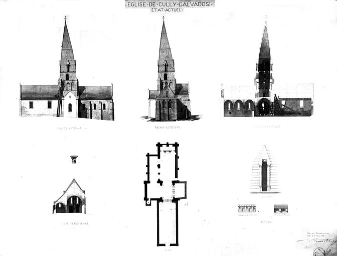 Plan, coupes longitudinale et transversale, élévation des façades latérale et postérieure (état actuel)