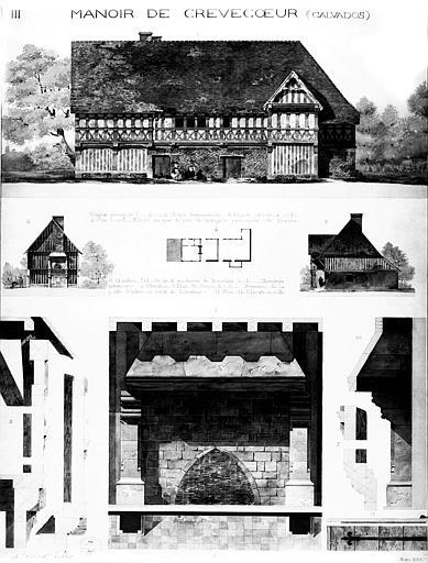 Elévation des façades, plan général, et élévation et coupe de la cheminée intérieure
