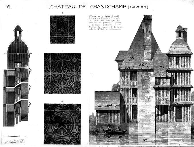 Elévation de la façade principale, coupe sur l'escalier et détails du carrelage (aquarelle)