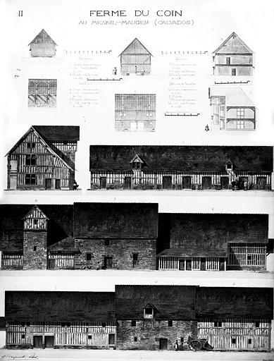 Elévations du bâtiment principal, de la porcherie, du cellier, du pressoir, et autres dépendances (aquarelle)