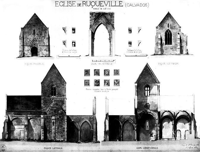 Elévations des façades, coupes longitudinale et transversale, et détails architecturaux (aquarelle)