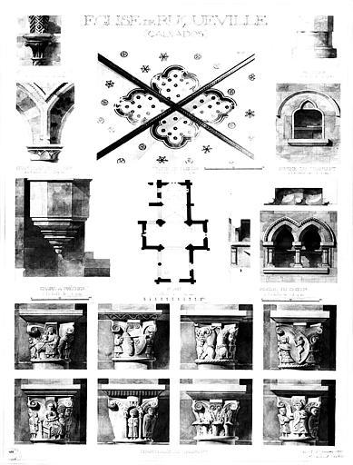 Plan général, chapiteaux, voûte du choeur, piscine du choeur, piscine du transept et chaire à prêcher (aquarelle)