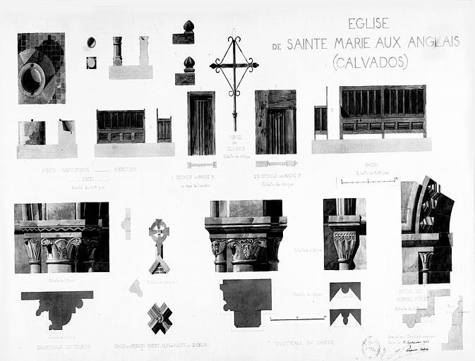 Détails architecturaux : Fonts baptismaux, bénitier, bancs, chapiteaux, détails du portail, croix du clocher, croix de pignon et clés de voûtes (aquarelle)