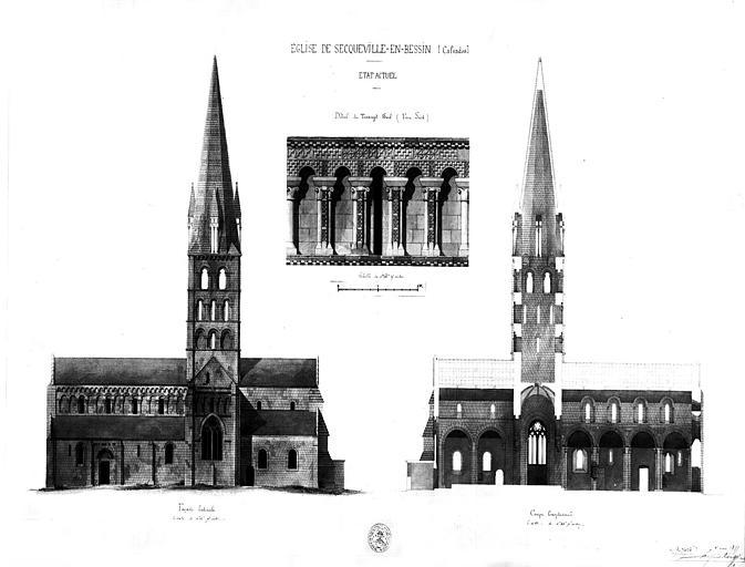 Elévation de la façade latérale, coupe longitudinale et détail du transept sud (aquarelle)