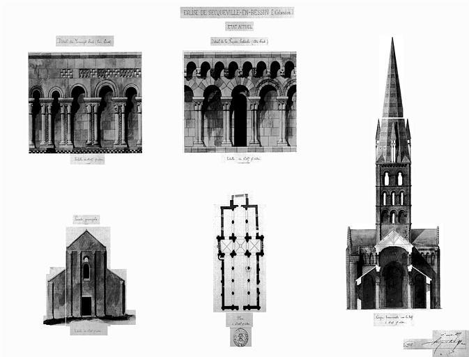 Plan général, coupe transversale, élévation de la façade principale et détails du transept sud et de la façade latérale (aquarelle)