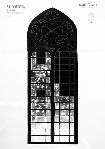 Saint Quentin, saint et sainte locaux, baie C, panneau de vitrail