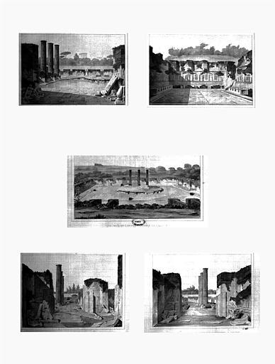 Restauration des thermes : Vue prise de la cellule 2 du plan (fig.1), Vue d'une des salles des bains de vapeur (fig.2), Vue prise de l'entrée de l'édifice (fig.3), Vue de la l'antisalle à gauche (fig.4), Vue de l'antisalle à droite (fig.5)