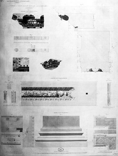 Restauration des thermes : Détails du 1e ordre autour de l'Atrium