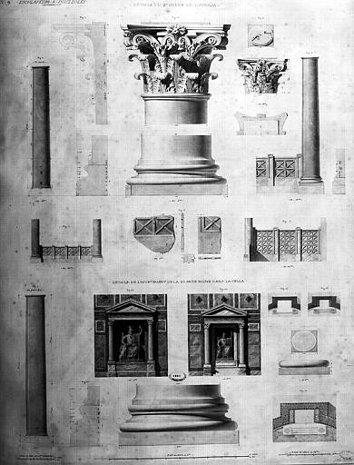 Restauration des thermes : Détail du 2e ordre de l'Atrium et détails de l'ajustement de la grande niche de la cella