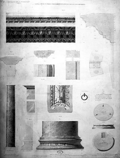 Restauration des thermes : Détail de la colonnade circulaire autour de l'autel des sacrifices