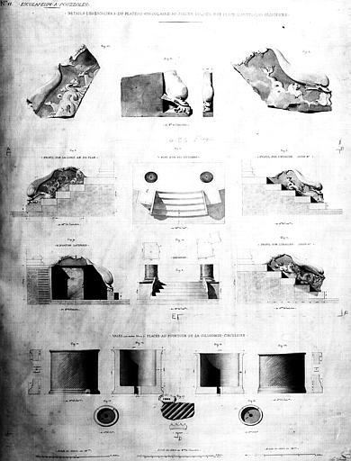 Restauration des thermes : Détails des escaliers du plateau circulaire au milieu duquel est placé l'autel des sacrifices